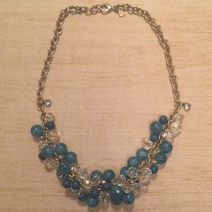 Banana Republic Turquoise & Clear Bead Necklace